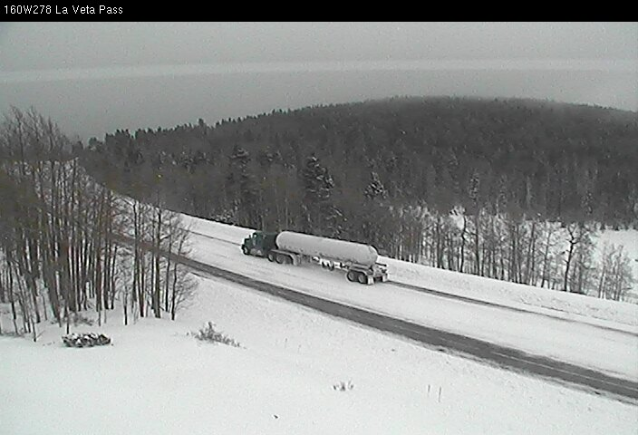 La Veta Pass, Hwy 160, propane truck in snowstorm