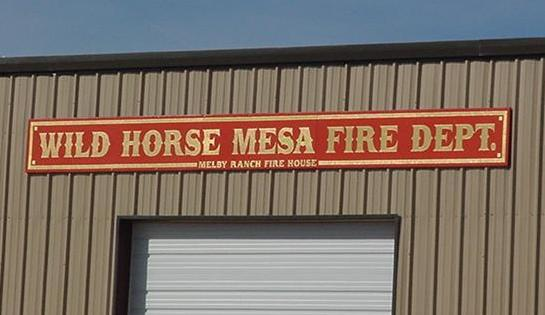 Wild Horse Mesa, fire department sign